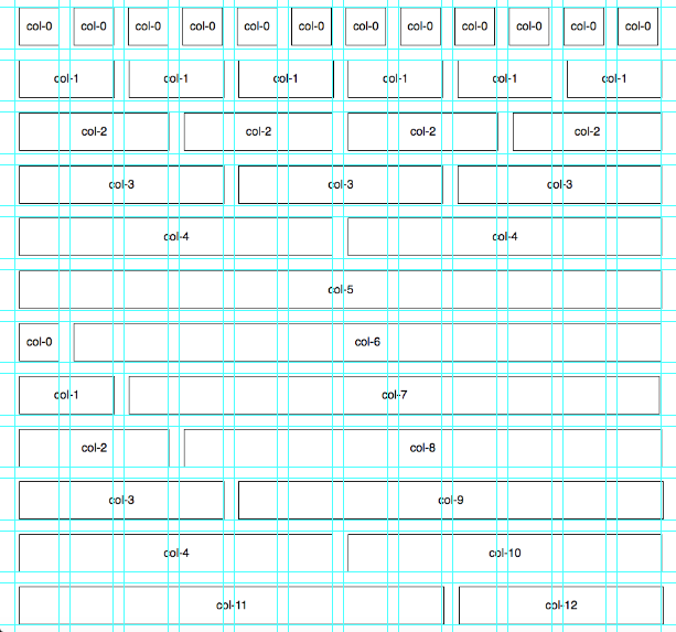 Screenshot showing the grid system with a photoshop grid/guides overlaid