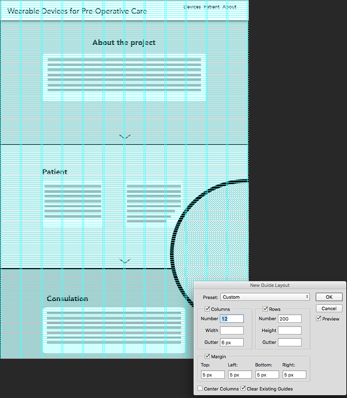 Screenshot of initial wireframe and settings