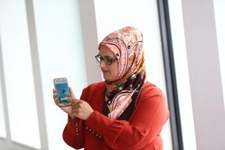 Zahra Rahman at the computing degree show