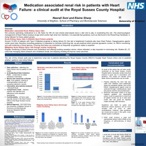 Neerali Soni, Medication associated renal risk in patients with Heart Failure: a clinical audit at the Royal Sussex County Hospital