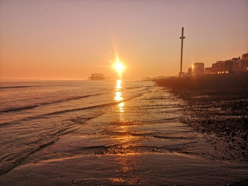 Photograph of a sunset a Brighton beach