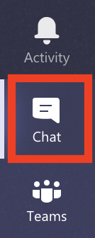 Teams menu screenshot highlighting the CHat function