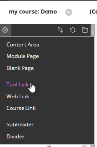 Screenshot showing clicking the plus button on a course menu in My Studies (studentcentral)