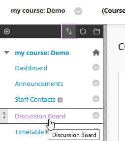 Screenshot showing the mouse cursor point at the Discussion Bord link in the course menu