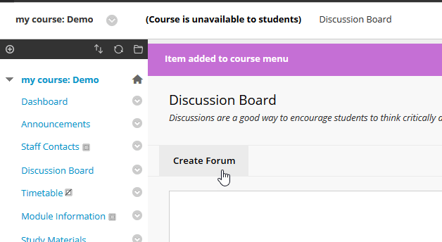 Screenshot showing the mouse cursor pointing to the 'Create Forum' button