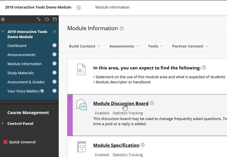 Screenshot of the module discussion board in Module Information