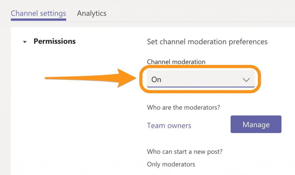 The 'Permissions' screen for the Channel settings showing the option to turn Channel moderation