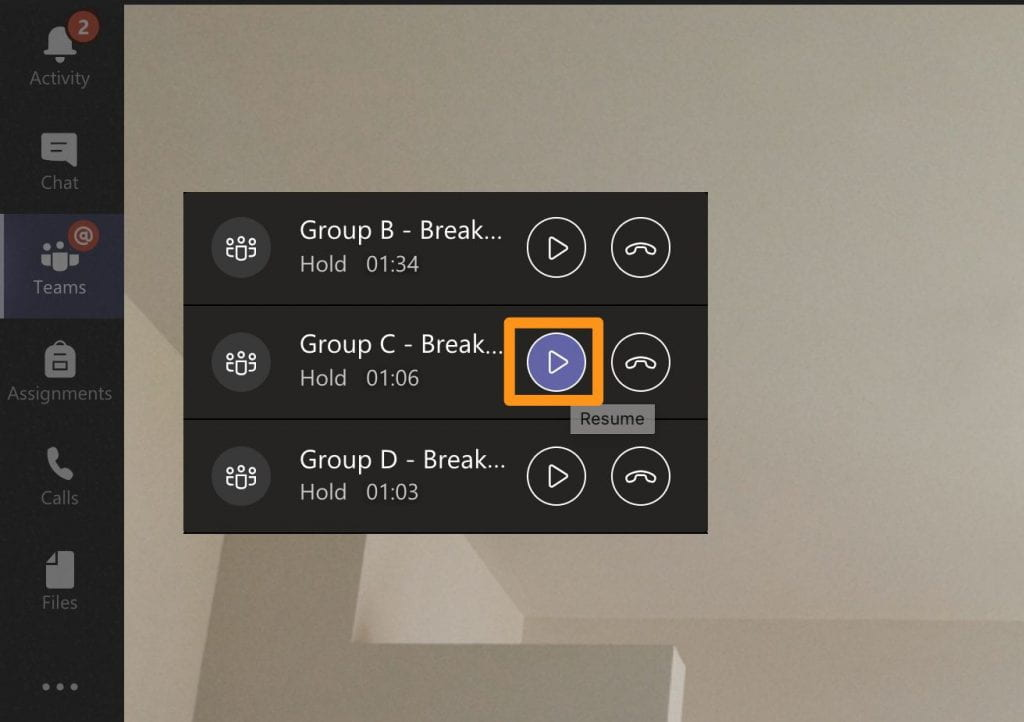 Three video meetings running simultenously, indicated by the controller, which has a 'resume' and 'hang up' button for each meeting