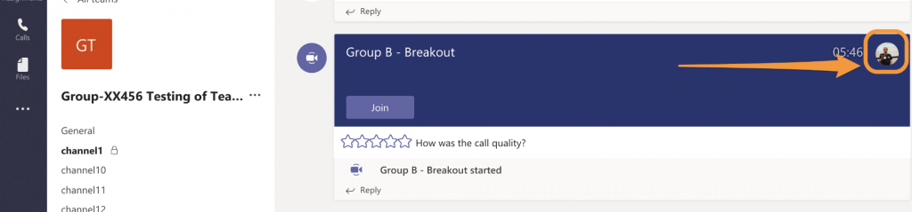 In the breakout channel with video meeting running, profile icons indicate who is attending