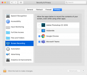Screenshot of the Screen Recording preferences in MacOS Catalina