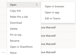 Screenshot of options for opening files from Teams