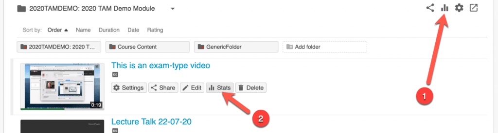 Screenshot of the main folder statistics button, and the individual video button as well.