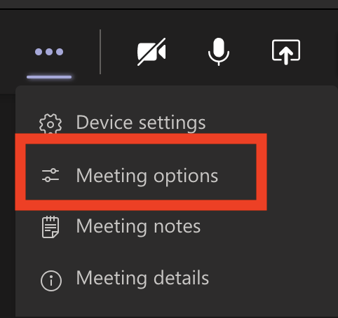 screenshot of teams meeting options button