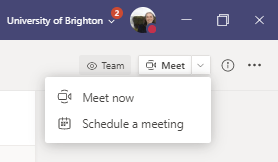 screenshot of Meet button in a Team, shows options Meet now and Schedule a meeting