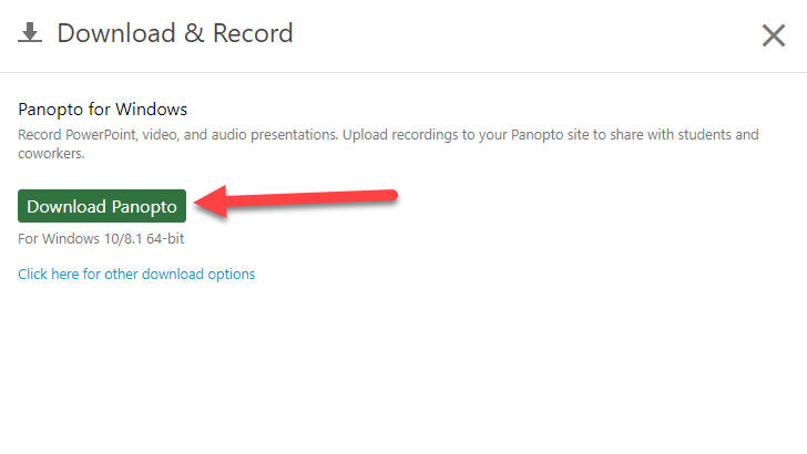 Screencapture of the green coloured download button