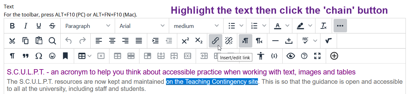 Image showing the link tool in the My Studies WYSIWYG text editor