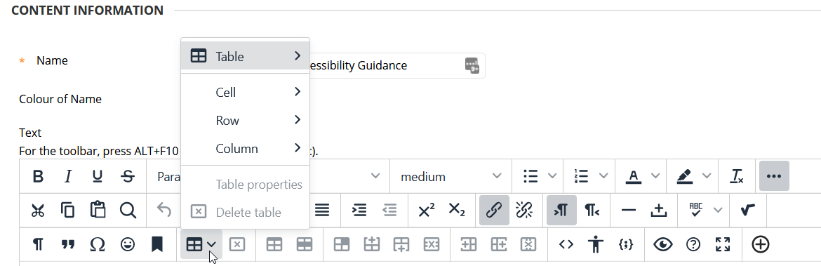 Screenshot of a mouse cursor pointing to the table tool in the My Studies WYSIWYG text editor