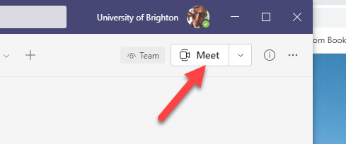 Screencapture of the Meet button in the upper-right side of a Teams area
