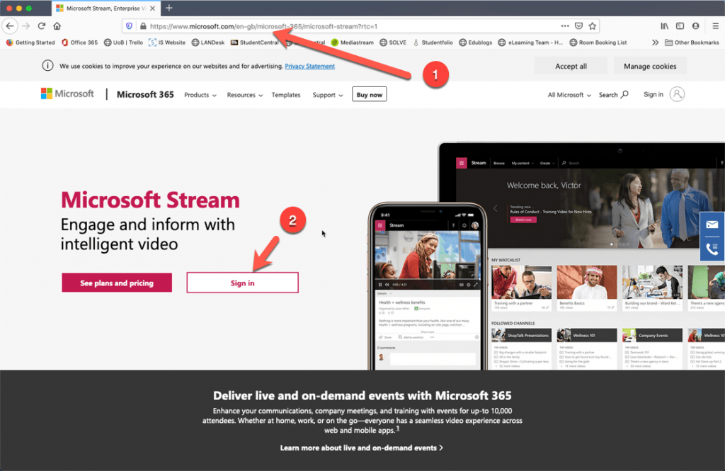 Screencapture of microsoft stream and the signin button being highlighted