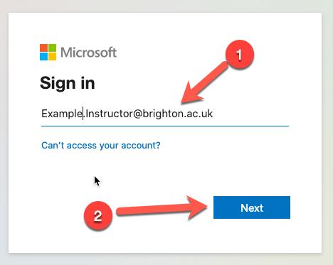 Screencapture of the MS Signin window