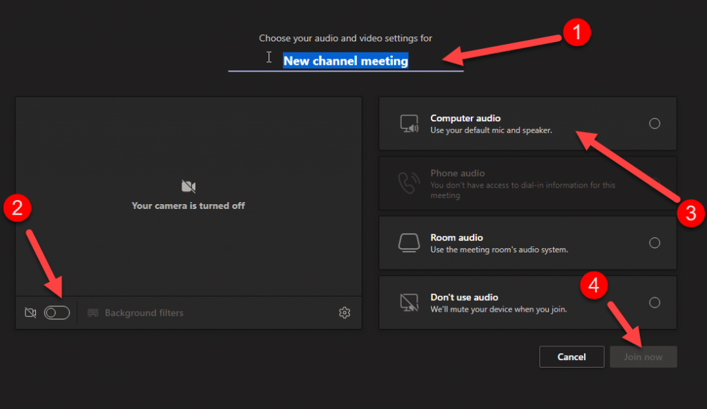 Screencapture of the meeting settings window