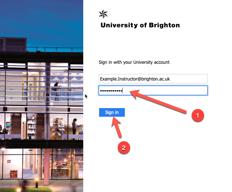 Screencapture of the sign in page for the university of brighton