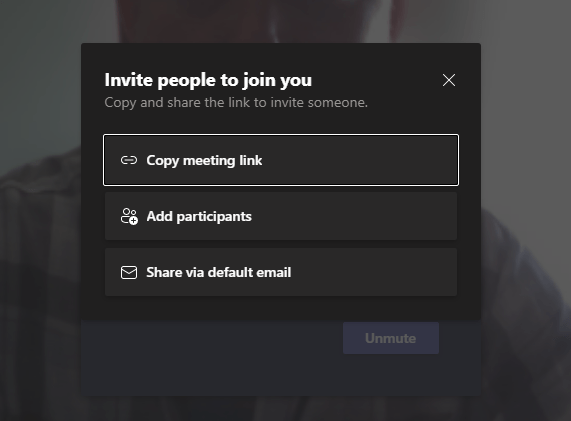 Screencapture of a pop-up window about inviting others to the meeting. Just close this window.