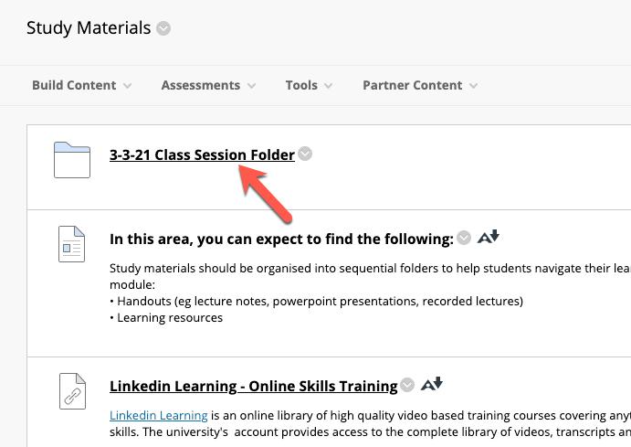 Screencapture of a particular content folder in blackboard
