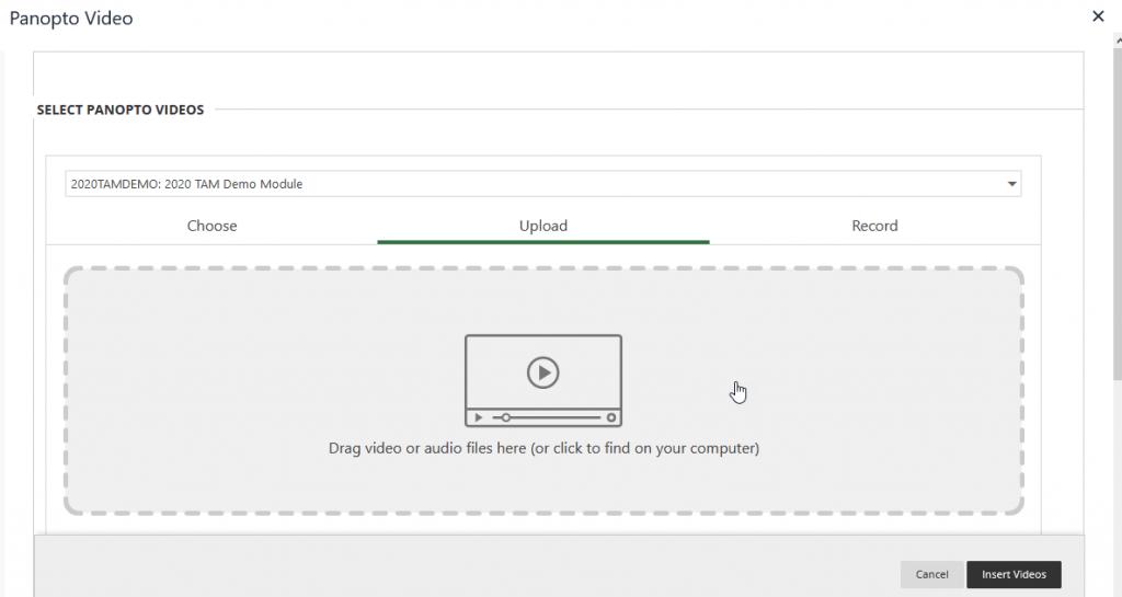 Screencapture of the upload window in Panopto