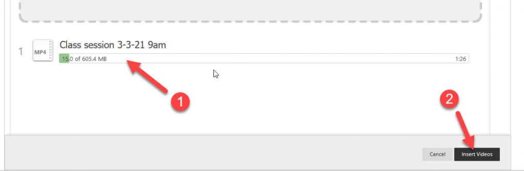 Screencapture of the incomplete progress bar.