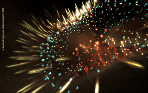 Electronically produced image with motion blurred explosive light against dark background in red blue and white. Credit reads In search of Chemozoa boredom research 2020.