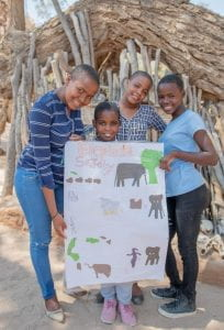 Kids with an elephant drawing