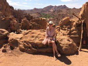 Rachel on a rock