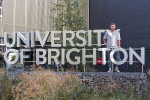 Charlie with UoB sign