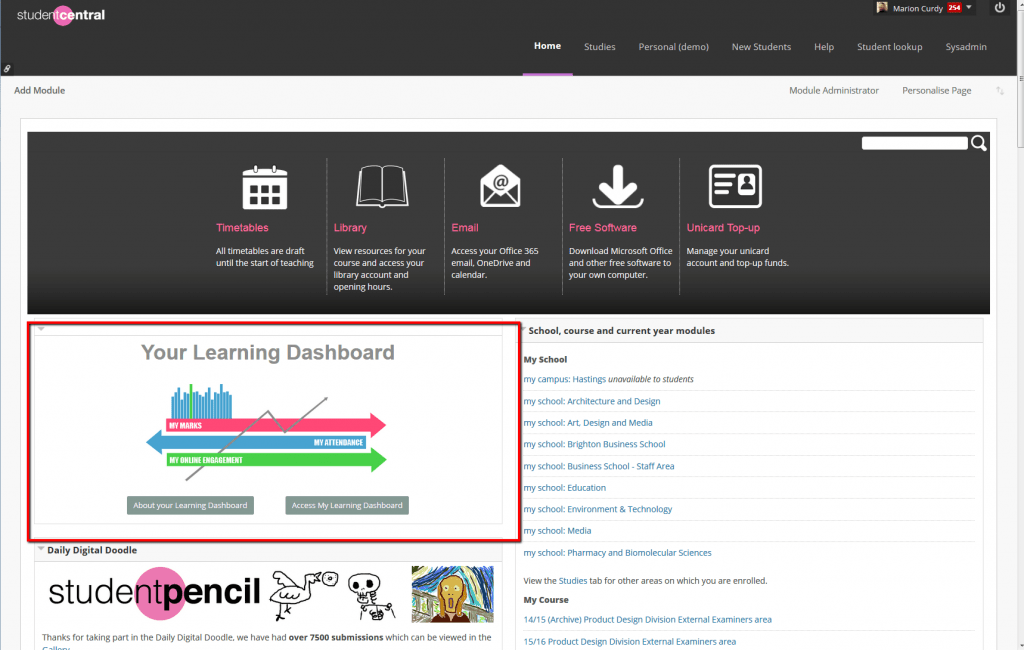 Student Learning Dashboard