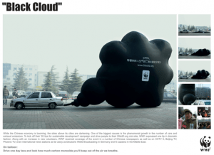 Image showing a sculpture forming a large black cloud coming out of a car's exhaust pipe