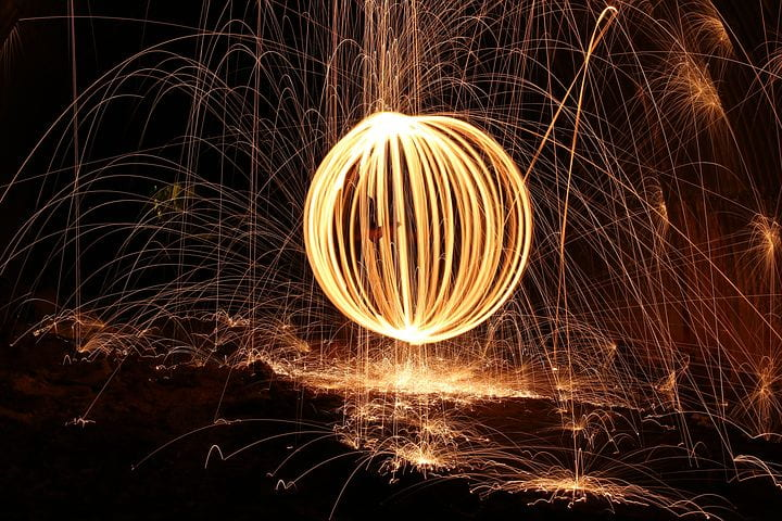 Image of a light sculpture using steel wool