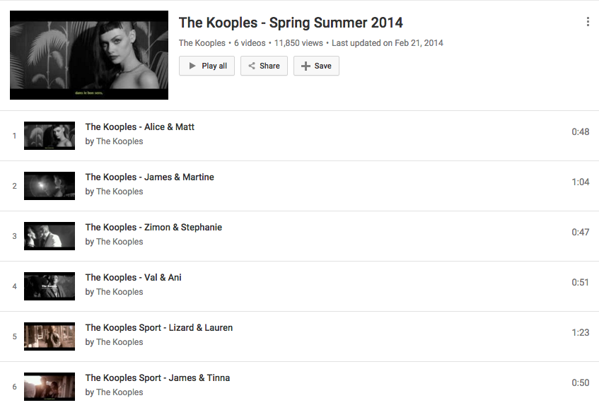 The Kooples Youtube Channel