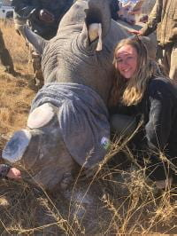 Chloe with injured rhino
