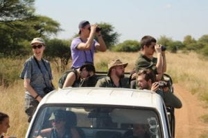 group of students in a jeep at Mankwe