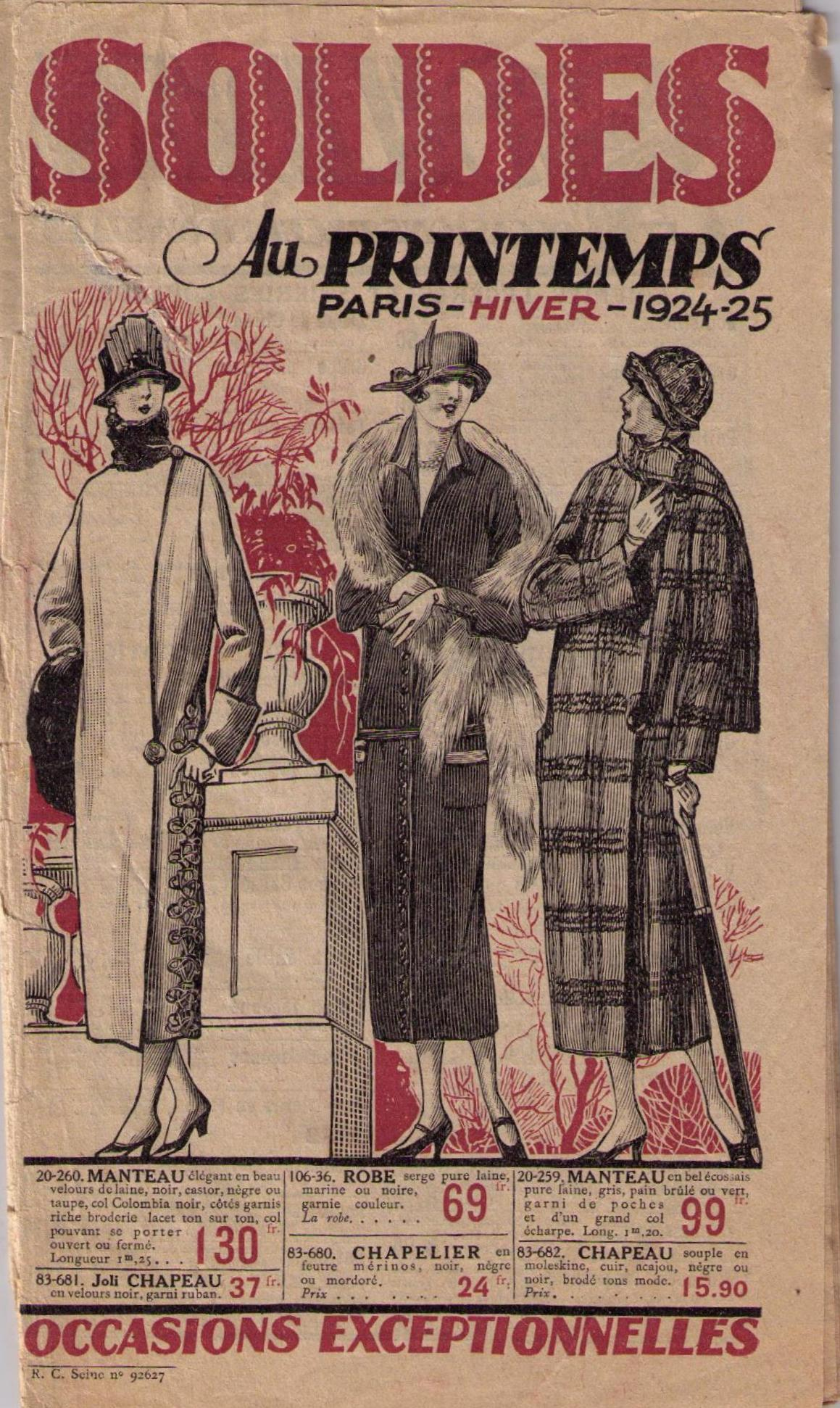Sale catalogue for Paris department store Au Printemps, 1924-25. University of Brighton Dress History Teaching Collection.