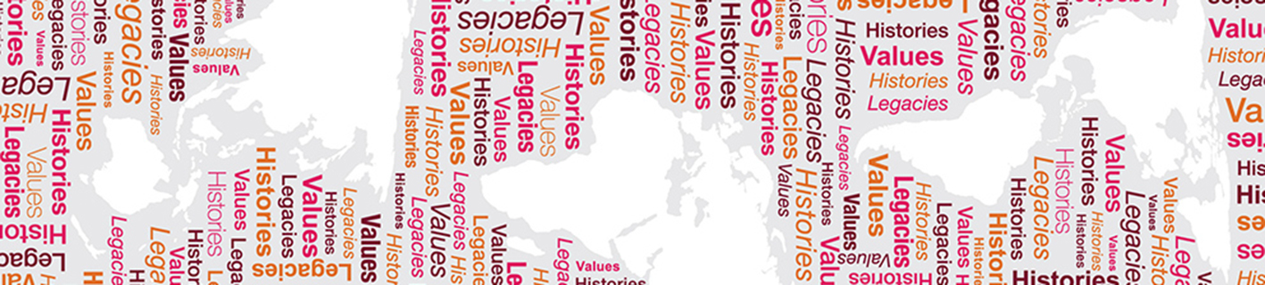 Banner representing international design with rotated continental shapes interspersed with matrix of design words including: Histories, Legacies, Stories, Values