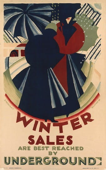 Poster: Winter Sales are Best Reached by Underground, 1924.