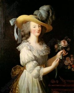 An eighteenth century painting of the French Queen, Marie Antoinette, dressed in a white gown and large hat.