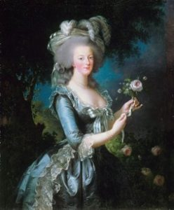 An eighteenth century painting of the French Queen, Marie Antoinette, holding a rose.
