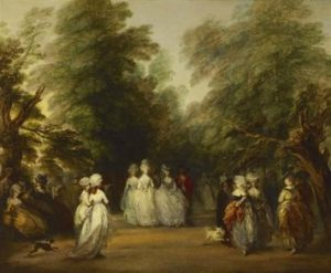 An eighteenth century painting of figures in a park.