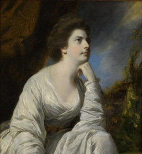 An eighteenth century painting of a female figure in a simple white gown.