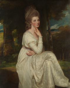 An eighteenth century portrait painting of a woman dressed in white.