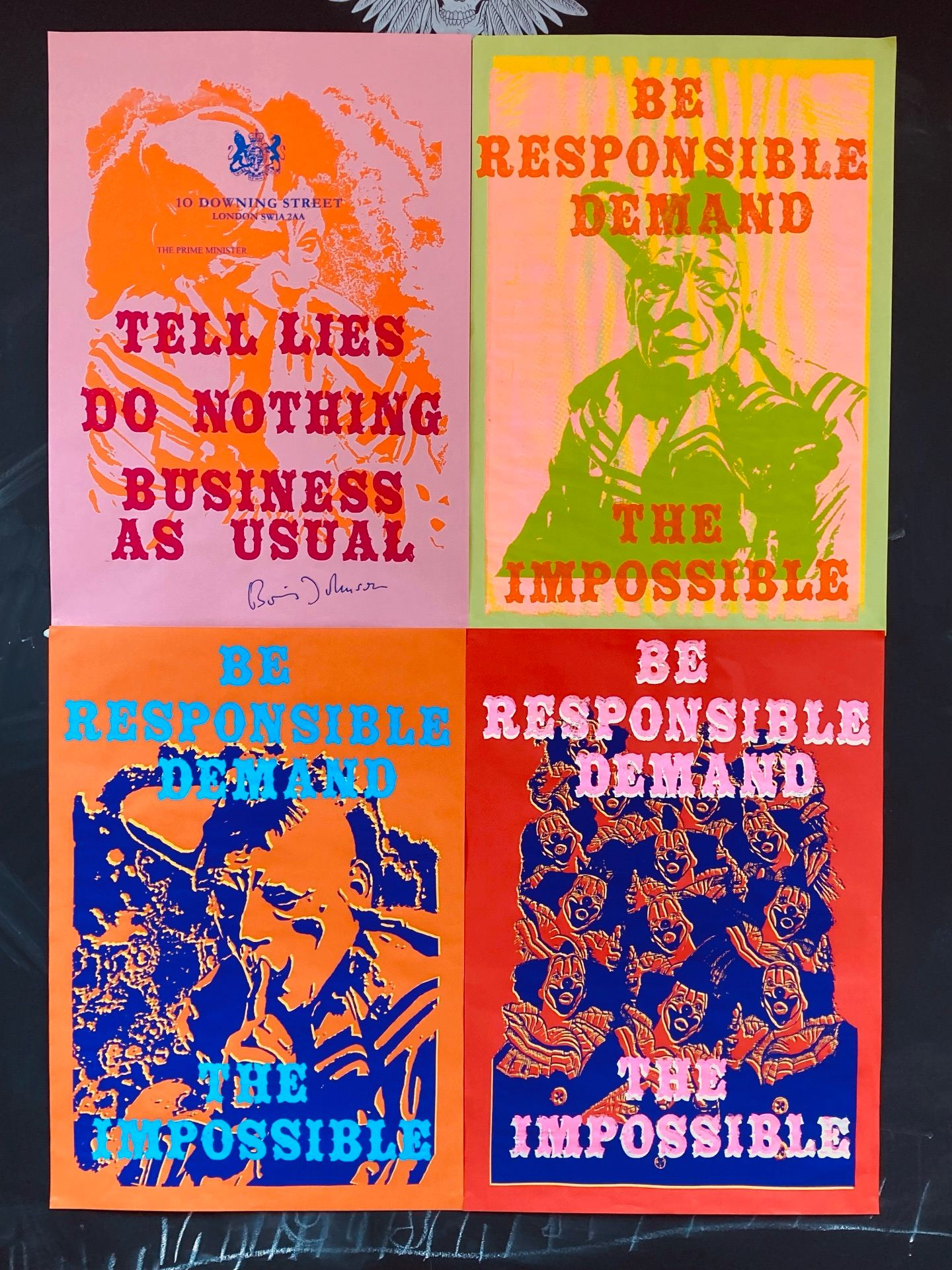 four colourful screen-printed posters