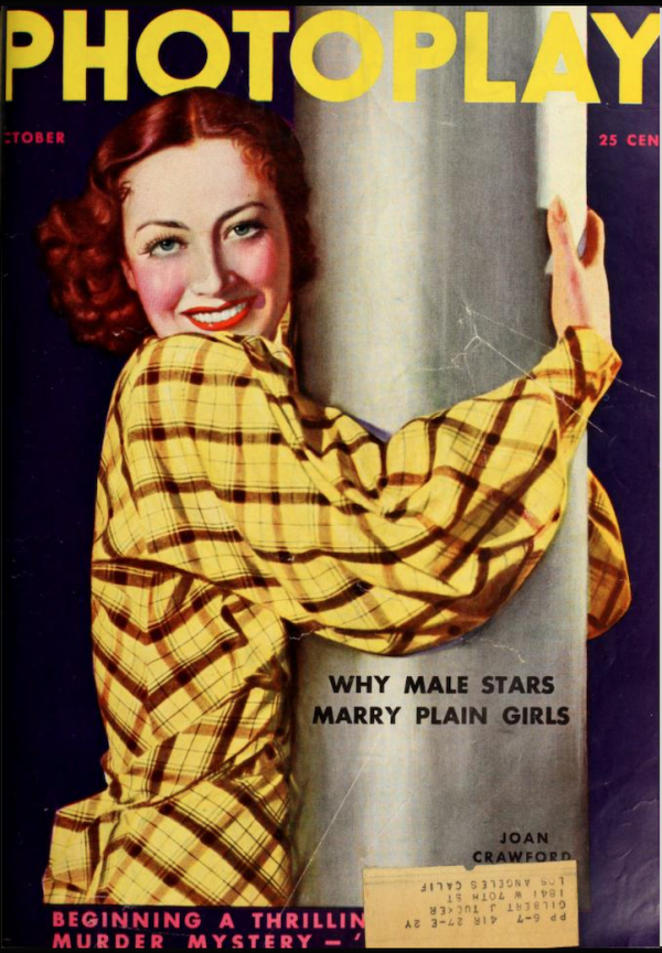 """a colour photograph of the cover of an issue of """"Photoplay"""" magazine from the 1930s, featuring Joan Crawford"""